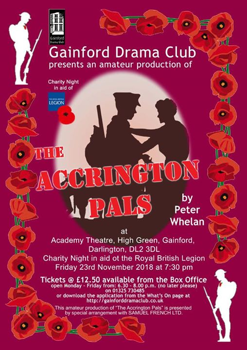 Upcoming fundraising performance of The Accrington Pals...